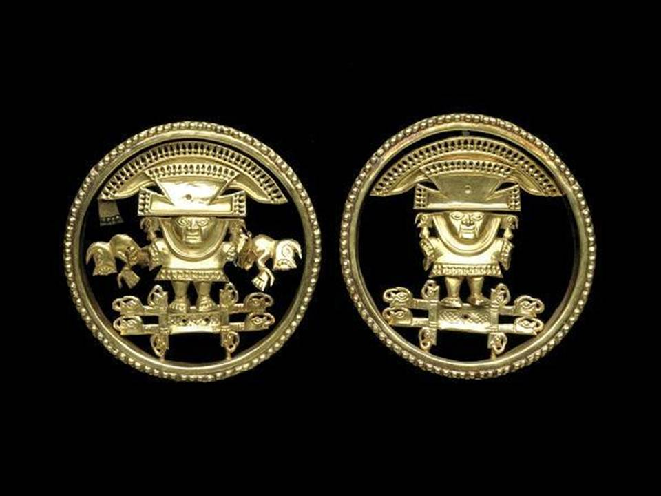 Pair of frontal panels from ear ornaments, c. 900 AD-1100 AD, Peru